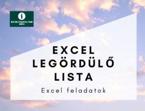 Excel legördülő lista készítése megoldással