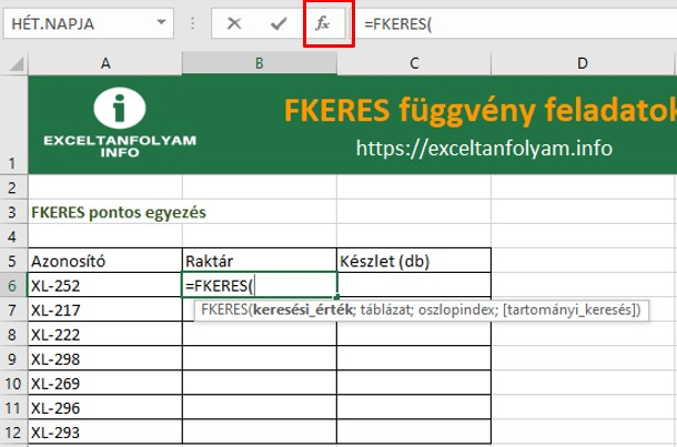 excel fkeres