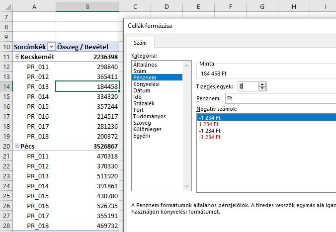 Pivot tábla számformátum