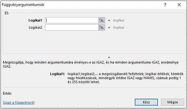Excel ÉS függvény felépítése