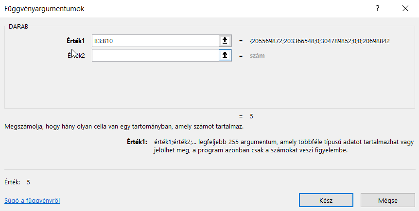Excel DARAB függvény eredmény