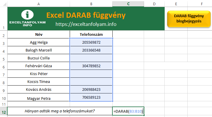 Excel DARAB függvény