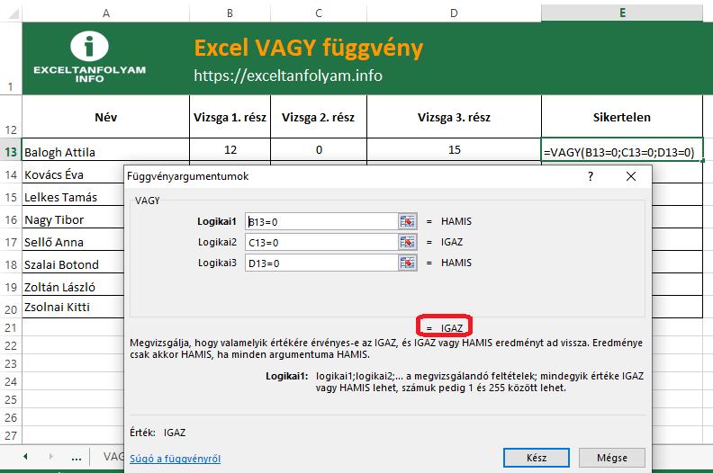 Excel VAGY függvény igaz